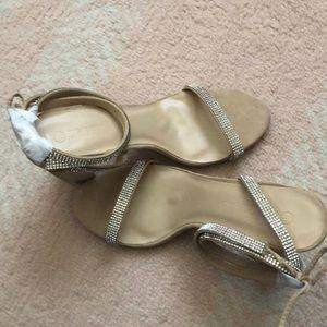 Rhinestone Trim Lace up - Block heel